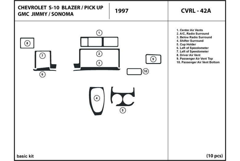 1997 Chevrolet S-10 DL Auto Dash Kit Diagram