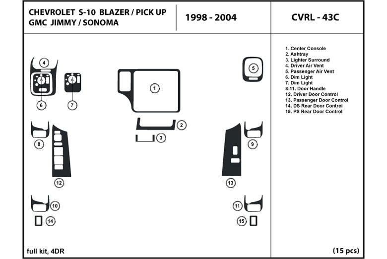 1998 gmc sonoma dl auto dash kit diagram