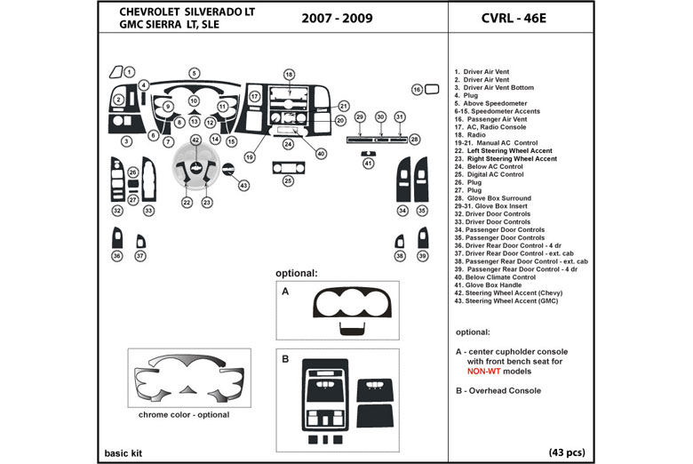 2009 GMC Sierra DL Auto Dash Kit Diagram