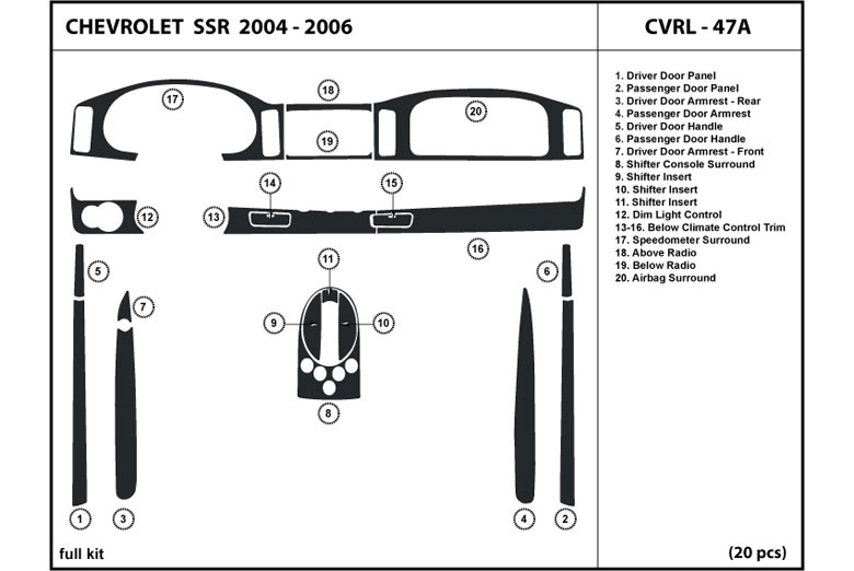 2005 Chevrolet SSR DL Auto Dash Kit Diagram