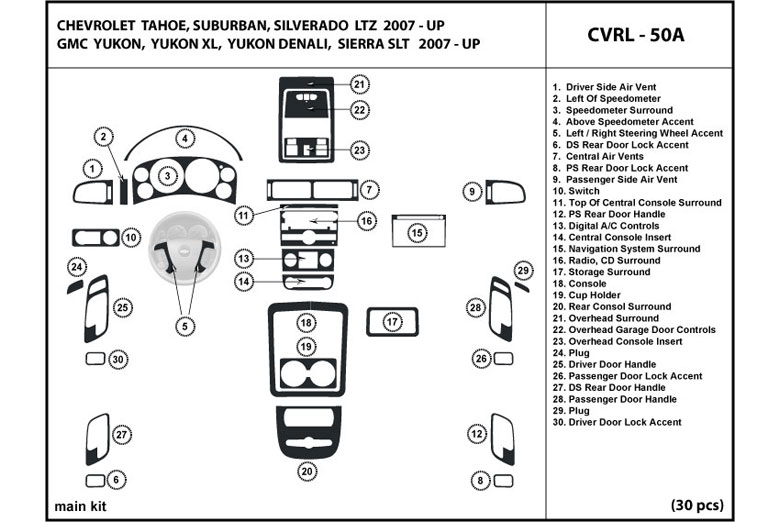 2009 Chevrolet Avalanche DL Auto Dash Kit Diagram