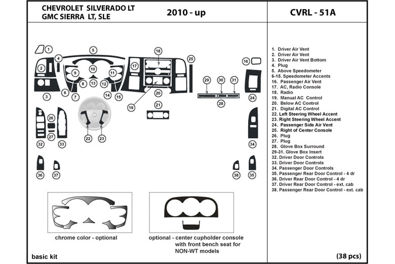 2010 Chevrolet Silverado DL Auto Dash Kit Diagram