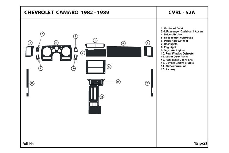 1983 Chevrolet Camaro DL Auto Dash Kit Diagram