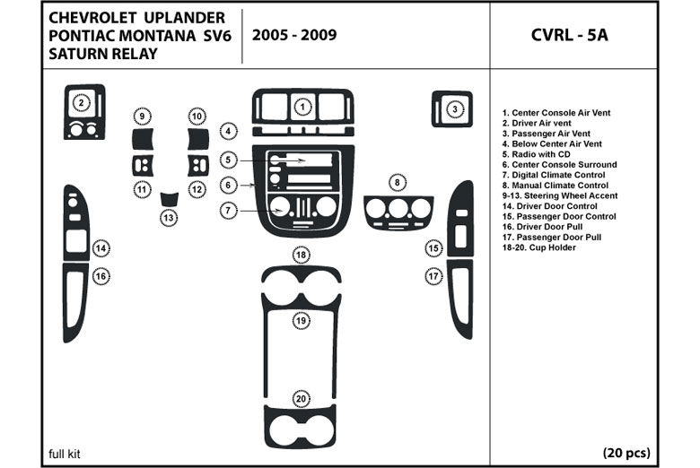 dl auto buick terraza 2005 2007 dash kits. Black Bedroom Furniture Sets. Home Design Ideas