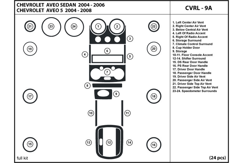 2005 Chevrolet Aveo DL Auto Dash Kit Diagram