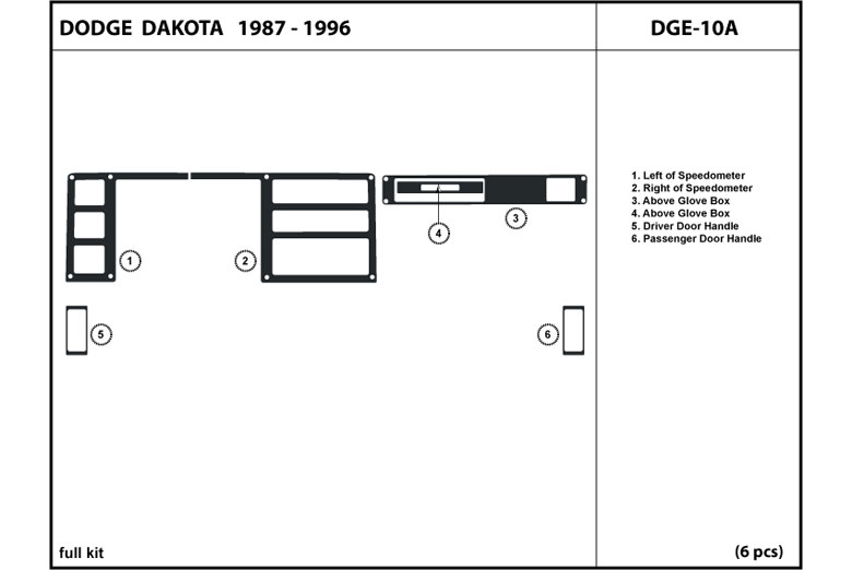 1993 Dodge Dakota DL Auto Dash Kit Diagram