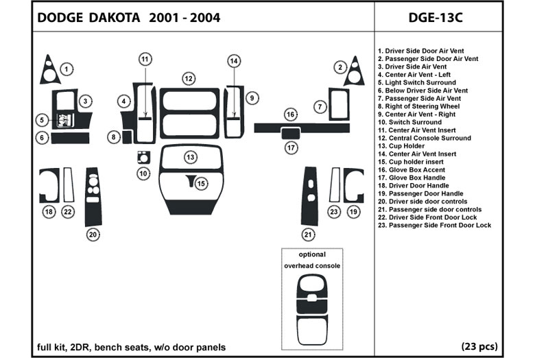 2001 Dodge Dakota DL Auto Dash Kit Diagram