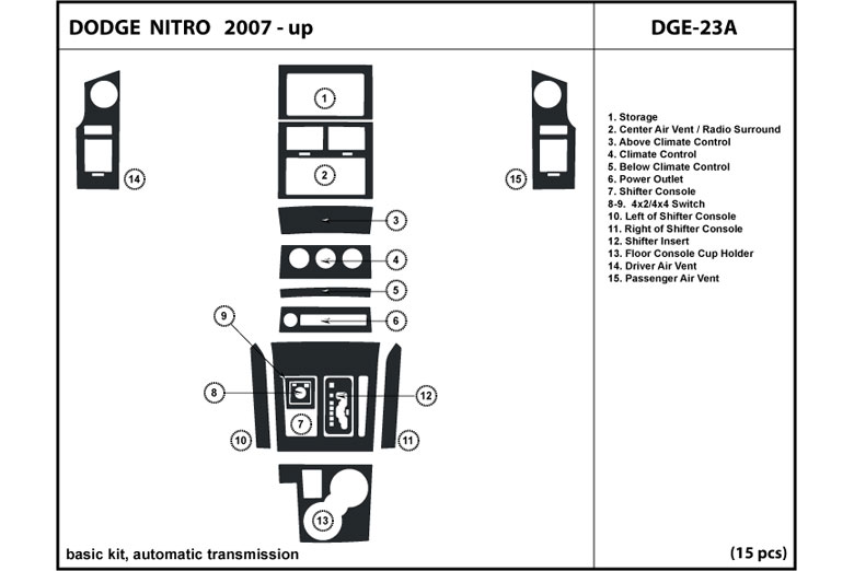 2009 Dodge Nitro DL Auto Dash Kit Diagram