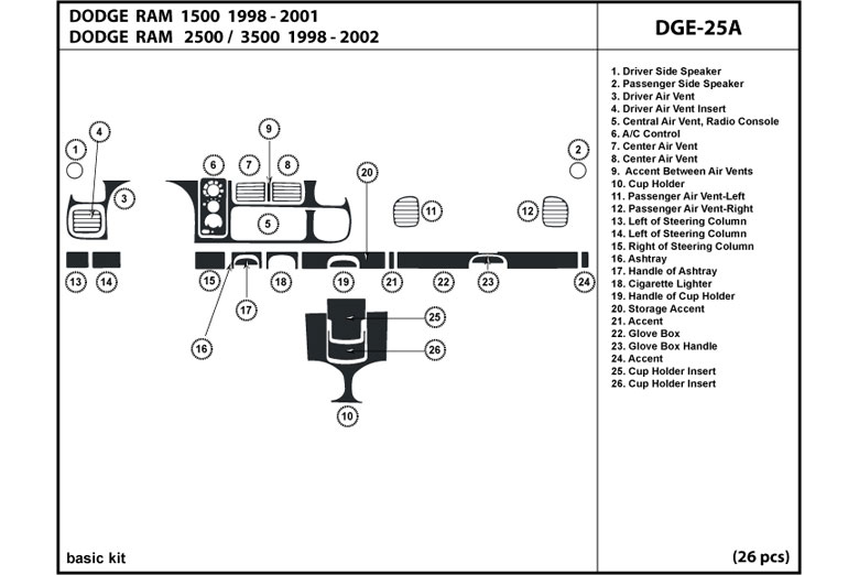 1998 Dodge Ram DL Auto Dash Kit Diagram