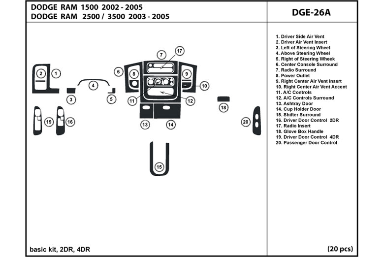 2003 Dodge Ram DL Auto Dash Kit Diagram