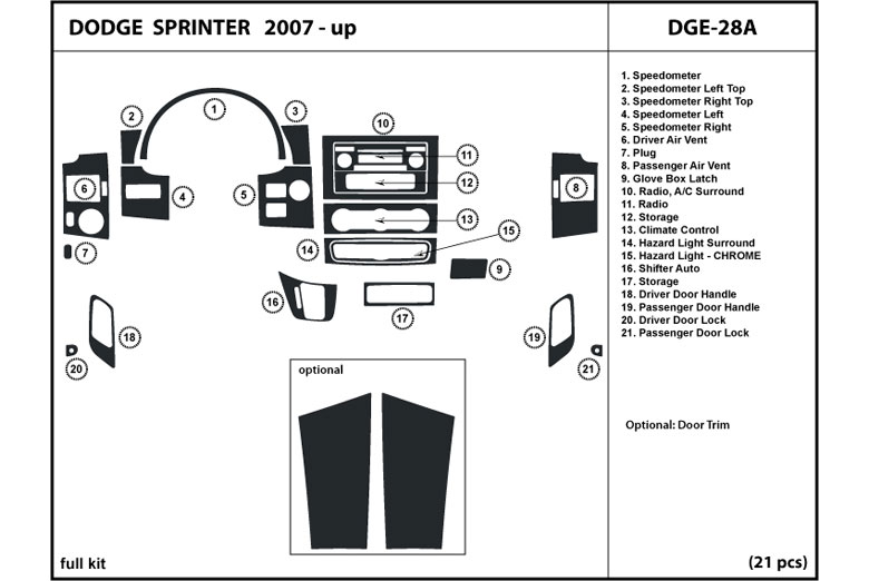2007 Dodge Sprinter DL Auto Dash Kit Diagram
