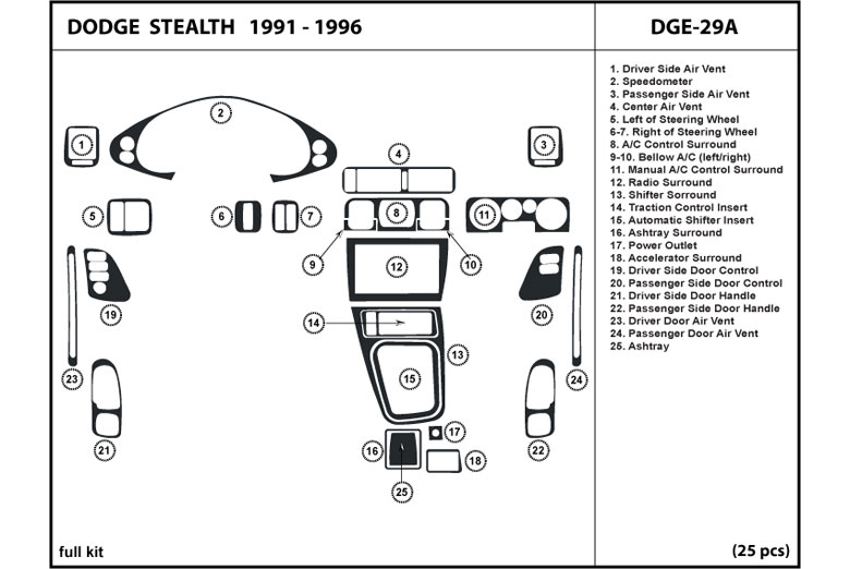 1993 Dodge Stealth DL Auto Dash Kit Diagram