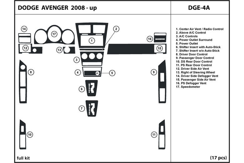 2010 Dodge Avenger DL Auto Dash Kit Diagram