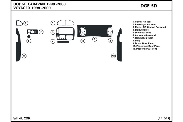 2000 Plymouth Voyager DL Auto Dash Kit Diagram
