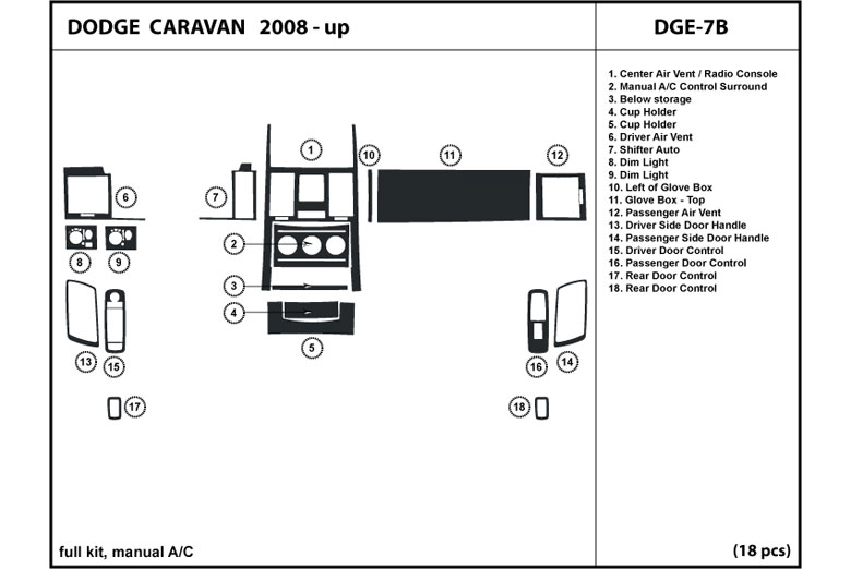 2008 Dodge Grand Caravan DL Auto Dash Kit Diagram