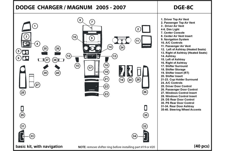 2007 Dodge Magnum DL Auto Dash Kit Diagram