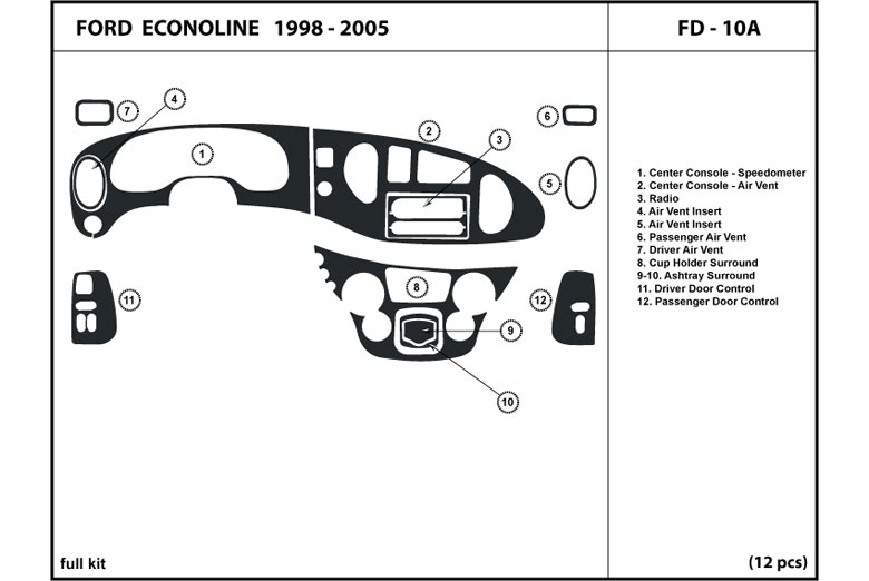 2003 Ford E-150 DL Auto Dash Kit Diagram