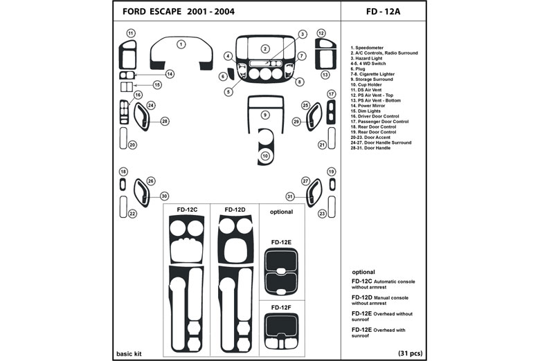 2001 Ford Escape DL Auto Dash Kit Diagram