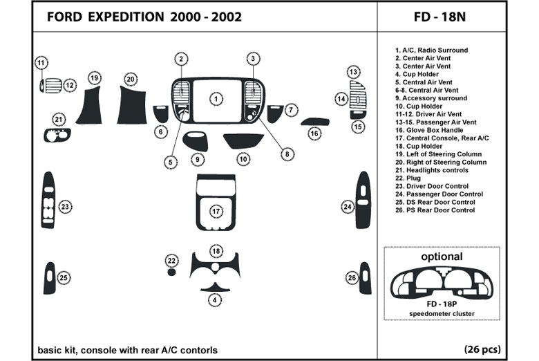 2000 Ford Expedition DL Auto Dash Kit Diagram