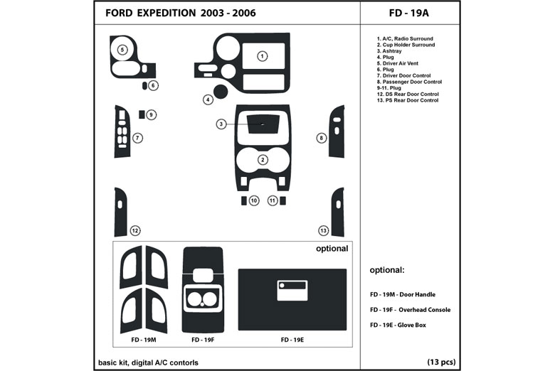 2005 Ford Expedition DL Auto Dash Kit Diagram