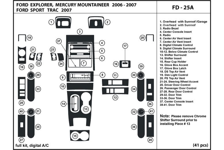 2006 Mercury Mountaineer DL Auto Dash Kit Diagram