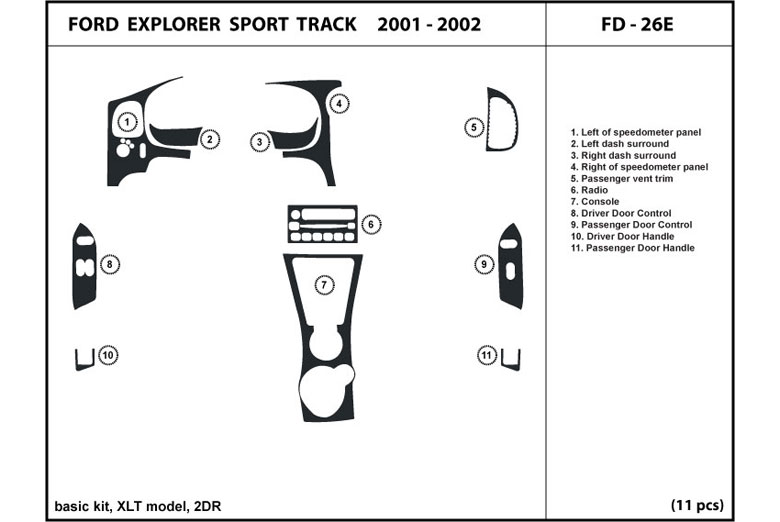 2002 Ford Explorer DL Auto Dash Kit Diagram