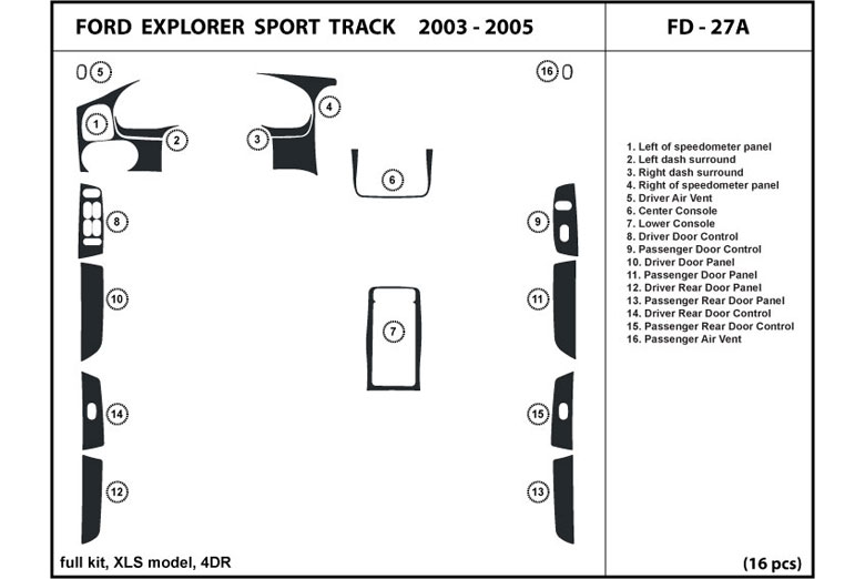 2004 Ford Explorer DL Auto Dash Kit Diagram