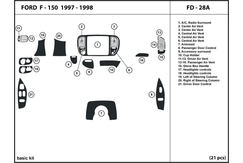 1997 Ford F-150 DL Auto Dash Kit Diagram
