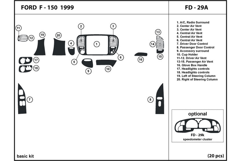 1999 Ford F-150 DL Auto Dash Kit Diagram