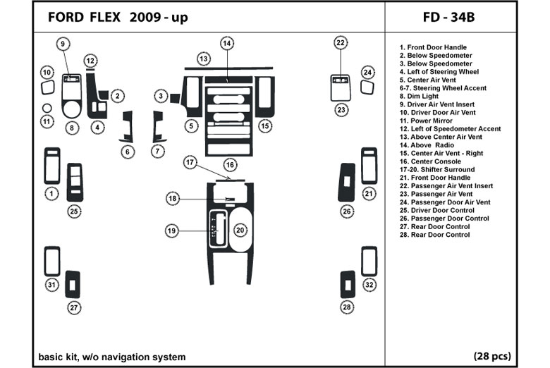 2012 Ford Flex DL Auto Dash Kit Diagram