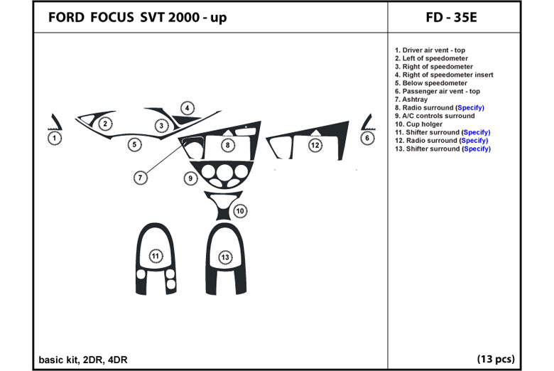 2002 Ford Focus DL Auto Dash Kit Diagram