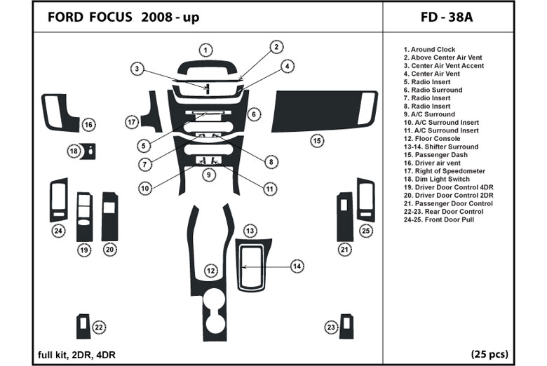 2008 Ford Focus Dash Kits