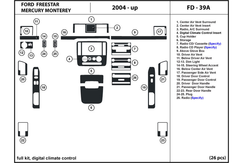 2004 Ford Freestar DL Auto Dash Kit Diagram