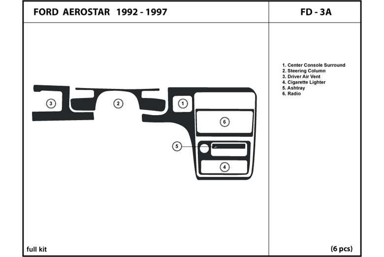 1992 Ford Aerostar DL Auto Dash Kit Diagram