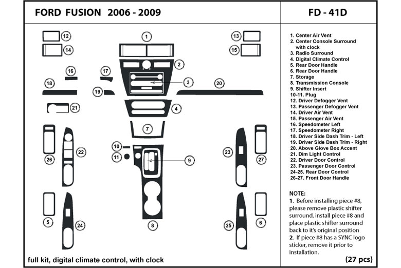 2006 Ford Fusion DL Auto Dash Kit Diagram