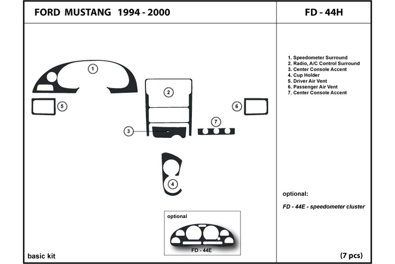 1996 Ford Mustang DL Auto Dash Kit Diagram