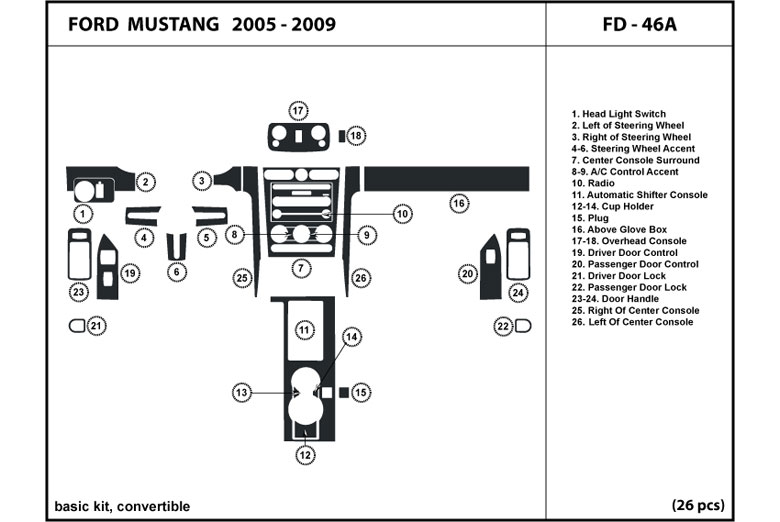 2005 Ford Mustang DL Auto Dash Kit Diagram