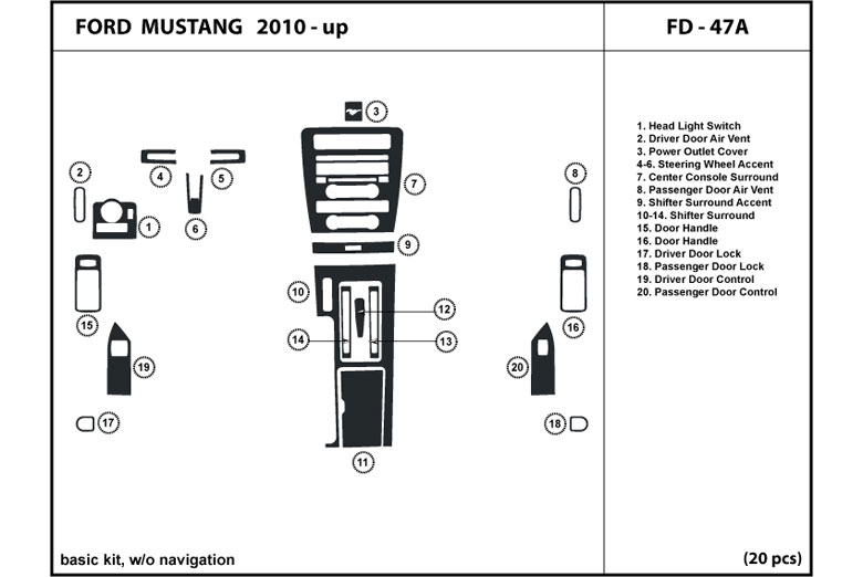 2012 Ford Mustang DL Auto Dash Kit Diagram
