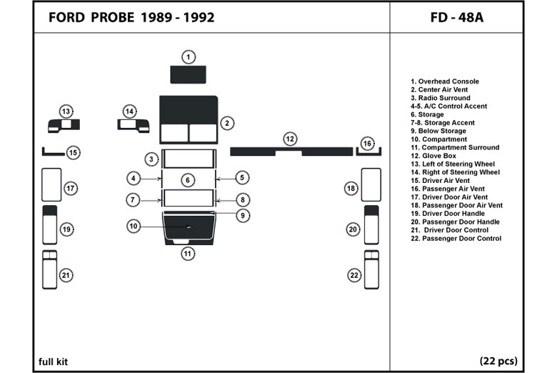 1990 Ford Probe DL Auto Dash Kit Diagram