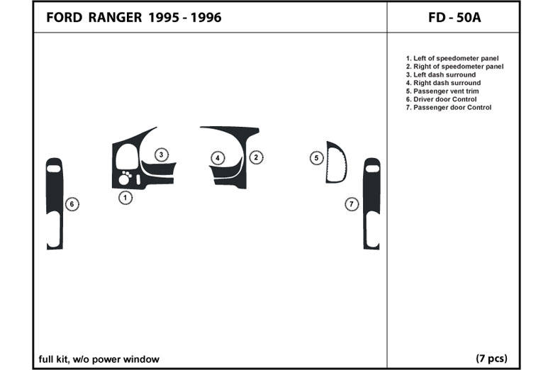 1995 Ford Ranger DL Auto Dash Kit Diagram