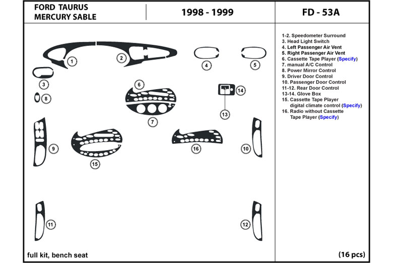 Dl Auto Ford Taurus 19961999 Dash Kits. 1996 Ford Taurus Dl Auto Dash Kit Diagram. Mercury. 98 Mercury Sable Dash Lights Diagram At Scoala.co