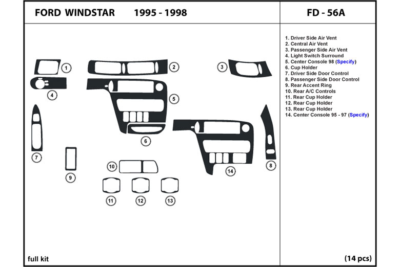 1996 Ford Windstar DL Auto Dash Kit Diagram