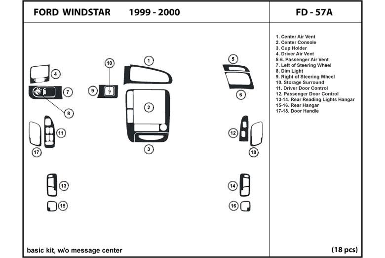 DL Auto™ Ford Windstar 1999-2000 Dash KitsRvinyl