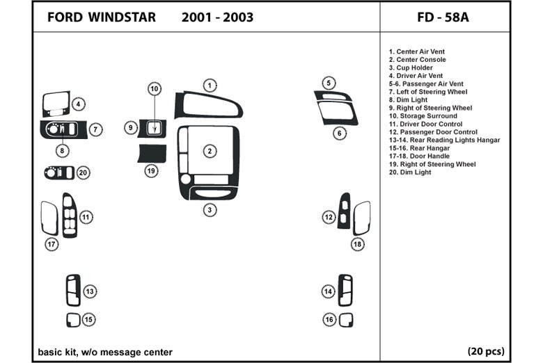 2001 Ford Windstar DL Auto Dash Kit Diagram