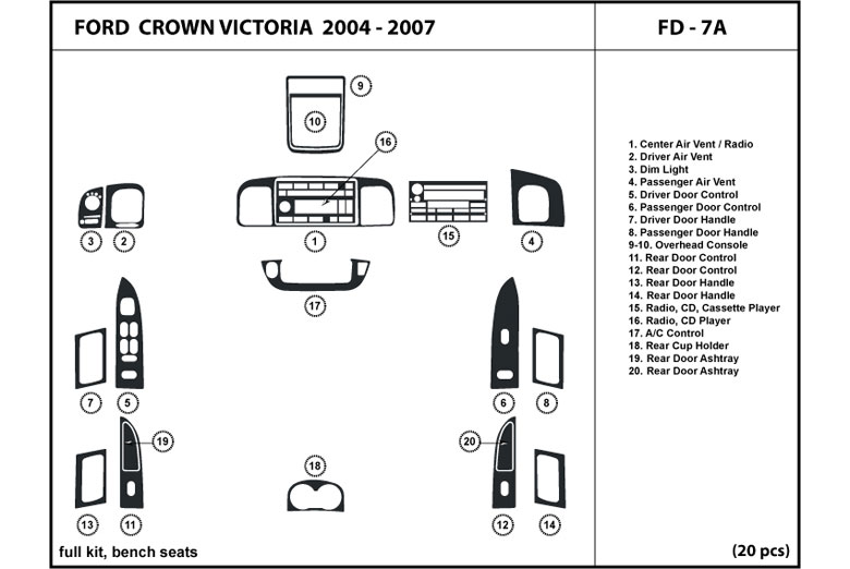 2005 Ford Crown Victoria DL Auto Dash Kit Diagram