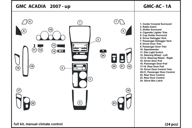 2012 GMC Acadia DL Auto Dash Kit Diagram