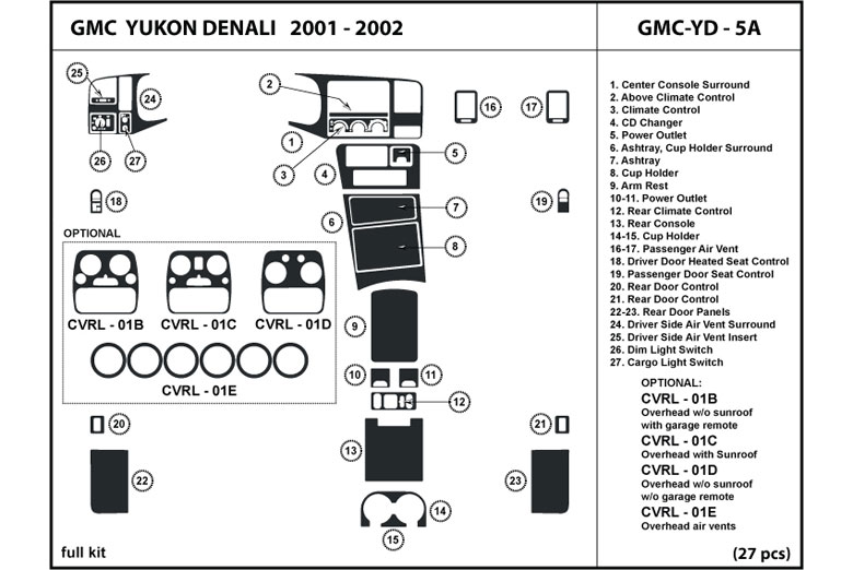 2001 GMC Yukon DL Auto Dash Kit Diagram