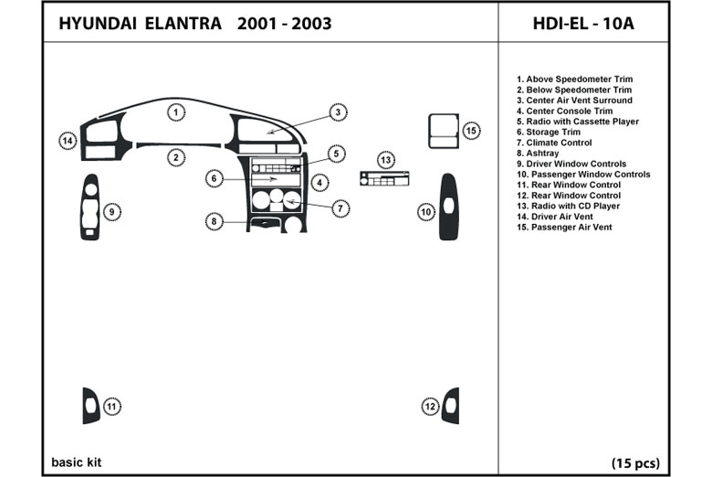 2003 Hyundai Elantra DL Auto Dash Kit Diagram