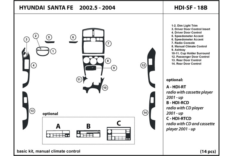 2003 Hyundai Santa Fe DL Auto Dash Kit Diagram