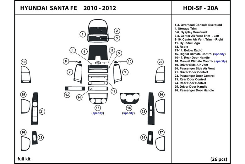 2007 Hyundai Santa Fe DL Auto Dash Kit Diagram